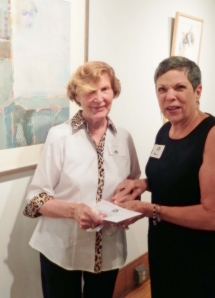 Pam Roland, (right), presents Memorial Award to CVWG member, Ginny Adams