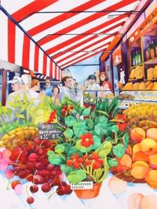 20B, Naschmarket, Vienna, watercolor, 30x24