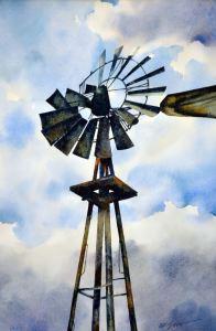 31B, Prairie Pumper, watercolor, 18x24